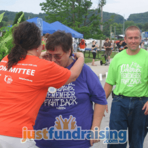 relay for life team in the finish line