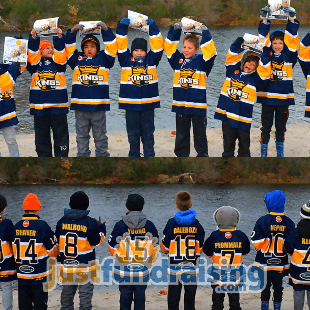 hockey team in front of water