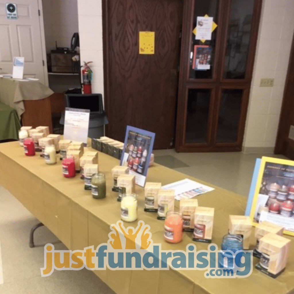 quote candles in table during fundraiser