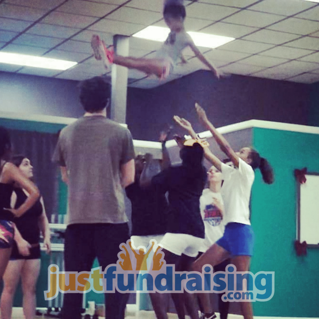 cheer group in practice