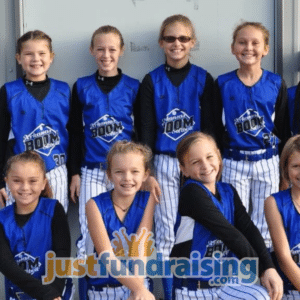female softball team in blue jerseys