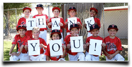 kids baseball team after successful fundraiser
