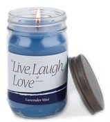 blue quote candle with the text live laugh love