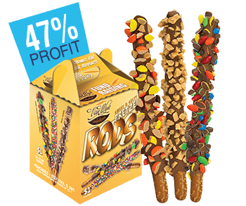 Pretzel Rods covered in chocolate and carrier case