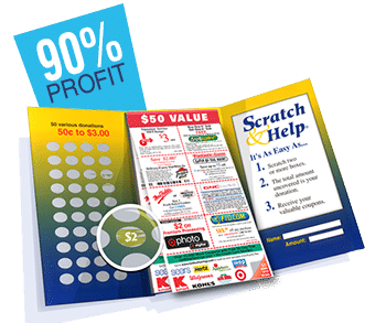 scratch & help scratchcard with coupons