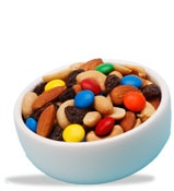 bowl of nuts raisins and m&m's