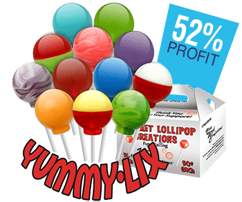Lollipops in several colors and carrier case